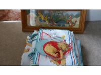 Nursery bundle, including cot quilt, cot bumper, cot toy tidy, wall hanging and framed picture