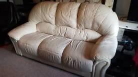 Sofa - cream leather, very comfortable still