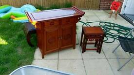 3x Chinese table and cupboard set