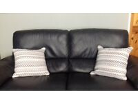 Navy Italian leather 2 and a half electric recliner settee and chair
