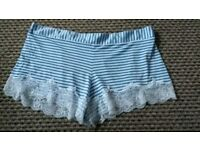 Ladies Blue and White Lacey Sleep Shorts