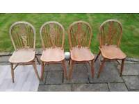 Set of Four Antique Wheel-back Solid Wood Dining Chairs