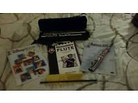 Silver begginers flute carry case and 3 books