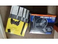 Playstation 2 slim, games, steering wheel!