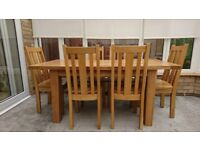 Extendable Solid Oak Dining Table with Six Oak Chairs - Excellent Condition