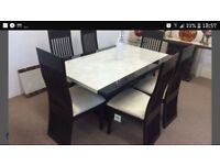 Marble dining room table and 6 chairs