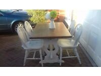 Table and Chairs 4 Wheelback Chairs , Shabby Chic Very Rustic Refectory Oak
