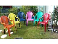6 X DIFFERENT COLOURED GARDEN CHAIRS