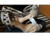 Brand new with tag (£18) party glittery women girls champagne heels Size 8