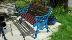 Heavy cast iron & wood garden bench