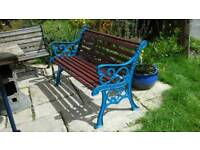 Heavy cast iron & wood garden bench