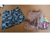 2 pairs of boys age 5-6 swimming shorts one pair 7-8 ben 10