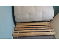 Double bed futon. Wooden slatted. Reversable chocolate brown/white.