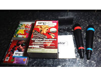 OFFICIAL WIRELESS SINGSTAR MICROPHONES (2) + 2 GAMES – PS3 / PS2