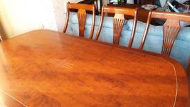 Italian design dining table & 6 cream chairs