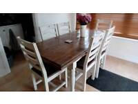 Extendable dark oak table 6 chairs