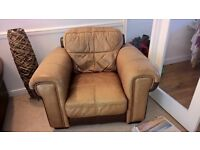 FREE Brown Leather sofa and armchair for sale