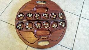 ANTIQUE HAND-CARVED MANCALA OWARE GAME 18 x 2 in. Ashanti Ghana Elephants Nicker Nuts Awari Solid Wood Carry Case