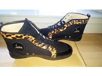 Christain High-Top Sneakers (LeopardPrint/Suede/Leather Detail) UK SIZE 11 / 45