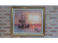 Seascape Framed Oil Painting Sailboats Sunset 73cm X 63cm V.G.C