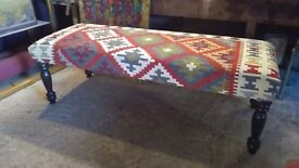 kilim ottoman coffee table footstool handmade kilim upholstered in kilim by master upholsterer