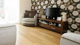 Dark wood contemporary tv unit with drawer