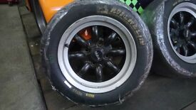 """13"""" 7j mini light alloy wheels ford 4 stud with michelin slicks tyres race track day"""