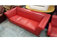 Red Leather Three-seater Sofa with Matching Swivel Armchair and Footstool