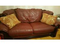 3 seater maroon red settee & chairs & Coffee table price negotiable