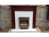 Mahogany & Marble Fireplace with electric fire