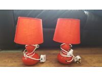 Pair of Red Bedside lamps