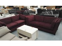 Brand New 2 x 3 Seater Plum Fabric Sofas. Reduced From £700 Due To New Delivery Coming. RRP £1399.