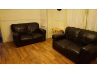 Leather sofas for sale - black x2