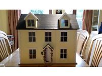 Three Storey Dolls House with furniture and lighting and extras