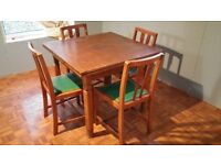 Extending Solid Wood Table and 6 Chairs