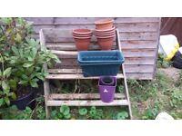 FREE: Garden shelf, tyres and pots
