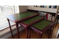 ANTIQUE VINTAGE LEATHER TOP NEST OF TABLES