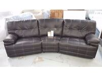 BRAND NEW ScS Axis 4 Seater Curved Manual Recliner Black Leather Sofa ***CAN DELIVER**