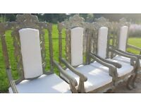 Antique Wedding Throne Chairs For SALE x 4 in Champagne Gold / Silver Metal & Ivory Cushions