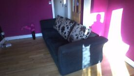 Black 4seater soffa, very good condition as new, cushion back type,