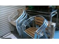 aluminium and ash stacking chairs x4