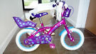 bicycle 12'' for girl purple colour + side wheels