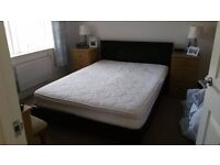 Double Brown Leather Bed and Mattress