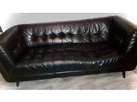 3 seater black leather settee sofa. Free to collect