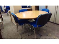 Round office meeting table and 4 chairs