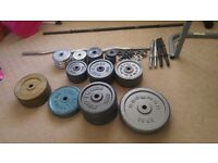 cast iron weight plates and bench