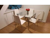 ***SOLD*** Glass dining table with 4 chairs