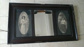 very old picture mirror antique