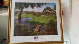Golf print framed and signed by Seve