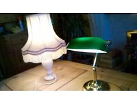 TABLE/BEDSIDE LAMPS(1)GREEN GLASS SHADE LAMP(2)PINK LAMP&SHADE/(3)CHROME MIRROR/PICTURE LIGHT/SHADES
